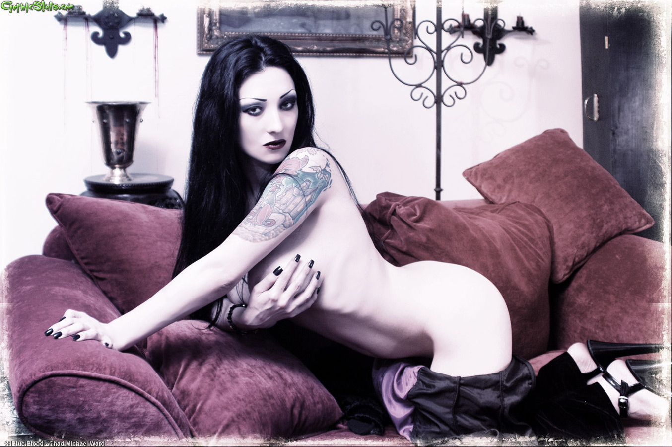 how much do male porn stars make #DomianaDemonica aka #Domiana #BlueBlood #GothicSluts #goth #gothic #pale #dark #tattoos #heels #semiclothed #lookingatcamera #couch #velvet