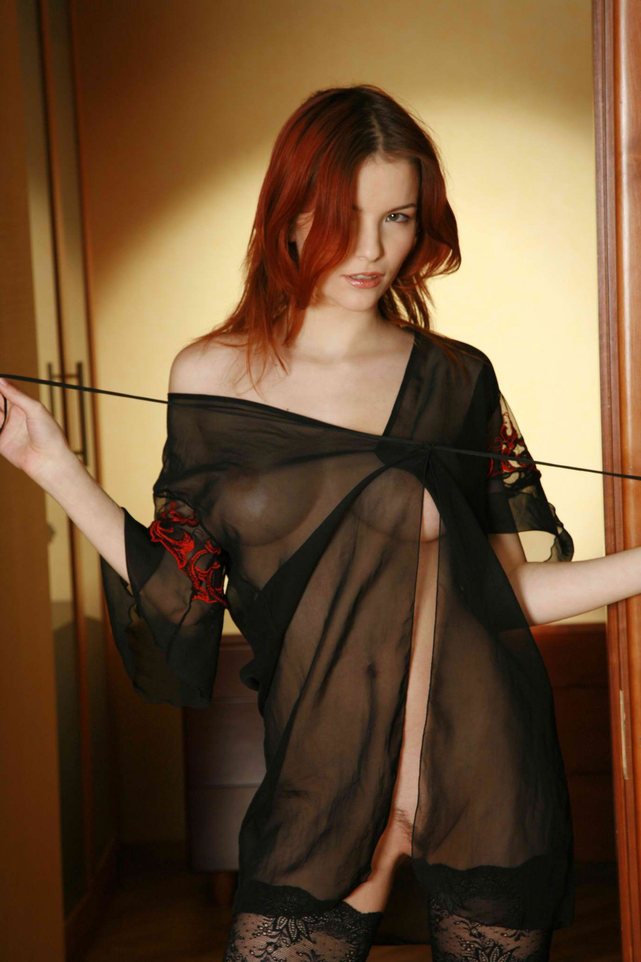 Hot Sexy RedHead Undressing Seethru Lingerie PerfectBoobs Nipples Pussy Stockings